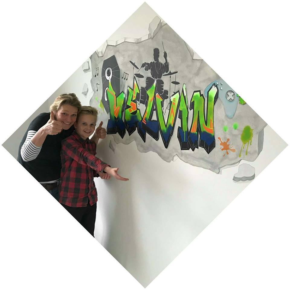 Muurschildering voor Melvin