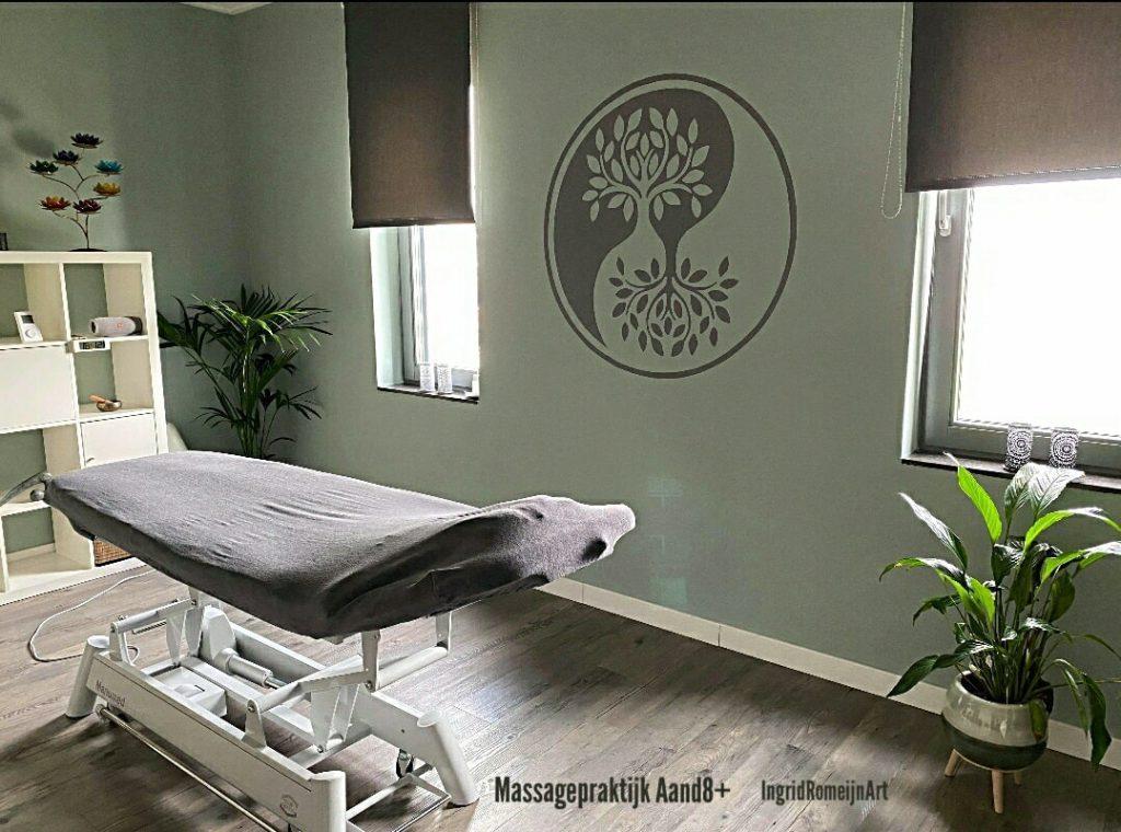 Muurschildering in massagepraktijk